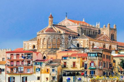 View of Dome of Monreale and the city, Monreale, Palermo, Sicily, Italy