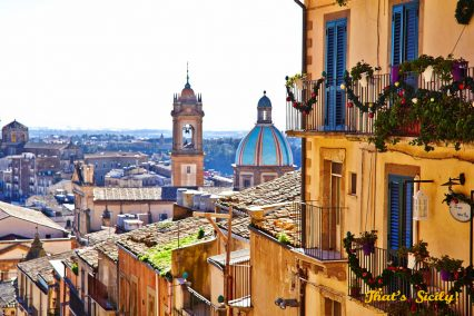 Townscape with Cathedral San Giuliano, Caltagirone, Sicily, Italy